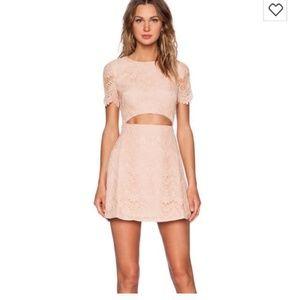 STYLESTALKER Peach Lace Cut Out Dress